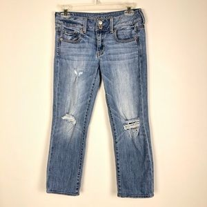 American Eagle Artist Crop Jeans Distressed size 2